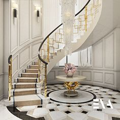 """""""Our designs will bring you to an interior world of eminence and delicacy in unb.- """"Our designs will bring you to an interior world of eminence and delicacy in unbiased magnitude. Staircase Interior Design, Luxury Staircase, Stair Railing Design, Home Stairs Design, Modern Staircase, Luxury Interior Design, Modern Entryway, Curved Staircase, Railings"""