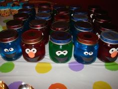 Sesame street character baby food jars filled with jello!