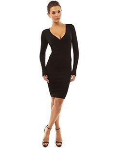PattyBoutik Women's V Neck Long Sleeve Knit Dress (Black S) PattyBoutik  http:/
