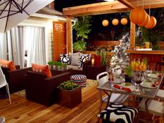 Fall-Inspired idea for Porches and Patios. Great idea for adding autumn touches to your outdoor space :) Outdoor Rooms, Outdoor Living, Outdoor Decor, Outdoor Ideas, Indoor Outdoor, Patio Design, House Design, Garden Design, Orange Rooms