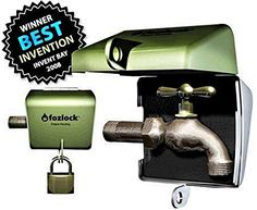 Fozlock Outdoor Faucet Lock System, Green – Insulated Garden Hose Bibb Lock and Spigot Lock With Cover – Prevent Water Theft and Stop Unauthorized Water Use and Vandalism, Easy Installation Garden Pool, Water Garden, Lawn And Garden, Public Restaurant, Starting A Vegetable Garden, Water Valves, Water Hose, Water Conservation, Water Plants