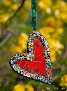 Kleine Wandkunst / Ornamente 2014 – – Cherie Bosela – Fine Art Mosaics & Photogra … - Bkn Me Mosaic Rocks, Mosaic Glass, Mosaic Tiles, Fused Glass, Mosaic Crafts, Mosaic Projects, Mosaic Designs, Mosaic Patterns, Christmas Mosaics