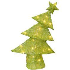 "Green Whimsical Sisal 18"" Lighted Christmas Tree Decoration - Polyvore"