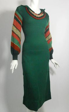 """1930s deep green knit wool dress with striped sleeves, yarn """"necklace"""" detail. By Miriam Gross. Dorothea's Closet Vintage"""