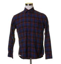 """GAP Dark Chocolate Brown Orange Pink Plaid Soft TWILL Button Dress Shirt 44"""" M #GAP #ButtonFront"""