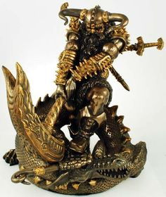 Celebrated within the sagas of Norse mythology as a great warrior and the protector of humanity, Thor is often described and shown wielding his mythical hammer Mjollnir. This statue, Thor the Warrior, is no different. Here it celebrates his titanic battle with Jormungandr, the world serpent, who was so great a serpent that he was said to coil around the entirety of the world and still be able to grasp his own tail and was said to cause the world`s end should he ever let go As legend go…