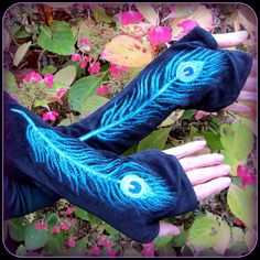 Peacock Feather  Long Arm Warmers ~ Black Velvet with Blue ~ Fingerless Gloves ~ Talismana Designs ~ hooping at Horning's!