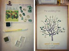 Un arbre de mariage composé d'empreintes des invités qui, après les festivités, sera un beau souvenir pour les mariés.