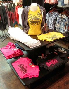 SuperDry table display for Revolution Boutique | visual merchandising | fashion merchandising