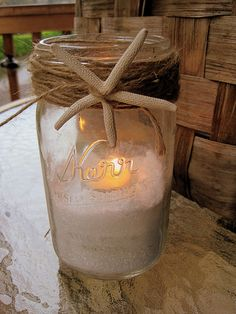 (Below Left) This delightful Starfish Mason Jar is so easy to create. From The Inspired Room, learn how to add a little light to your table decor, which will be sure to create a romantic atmosphere as the sun sets on your beach wedding celebration. Get the DIY Tutorial Instructions here.