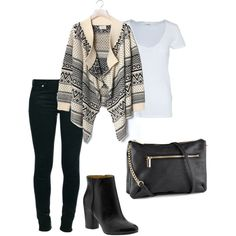 Aztec - Polyvore. cute oufit. change the shoes and purse..