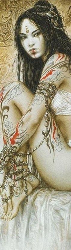 The Fantasy Art of Luis Royo Fantasy Women, Fantasy Girl, Tatoo Geisha, Fantasy Anime, Luis Royo, Wow Art, Fantasy Illustration, Digital Illustration, Art Graphique