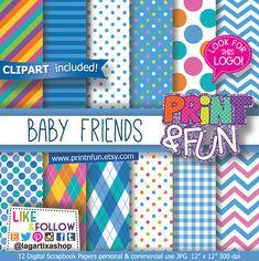 Baby Colors Digital Paper, baby blue, baby pink, argyle, chevron, polka dots, clip art, Patterns, aqua, Party invitations, Printables