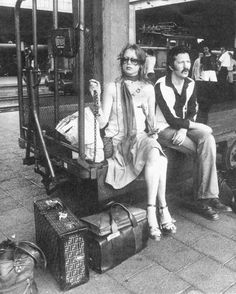 """Pattie Boyd and Eric Clapton, Munich 1977. We can thank his love for her for giving us """"Layla""""."""