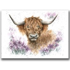 Country Set Greeting Card by Wrendale Designs - Highland Cow Highland Cow Tattoo, Highland Cow Art, Highland Cattle, Animal Paintings, Animal Drawings, Art Drawings, Watercolor Animals, Watercolor Art, Wrendale Designs