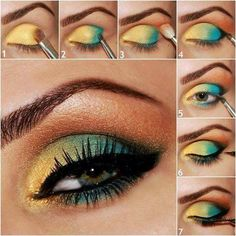 Beautiful Golden Eye Makeup For Brown Eyes. Eyeshadow Tips
