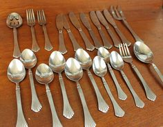 Wonderful pieces from Hampton Silversmiths HSV76. 1 slotted serving spoon (8 1/8) 2 salad forks (6 7/8) 7 knives (8 1/4) 1 serving forks (7 5/8) 6 tablespoons (7) 3 teaspoons (6 1/4) 1 fork (7 5/8) 1 serving spoon (8 1/8) Stainless steel workhorses will go from the table to the