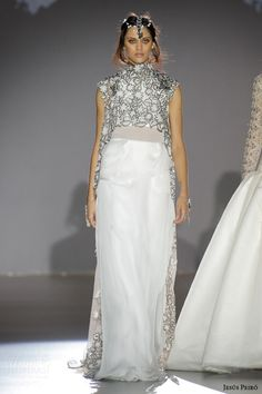 jesus peiro bridal 2016 nanda devi maharani princess voile heron chiffon wedding dress anthracite silver embroidered jacket
