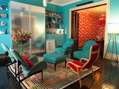 Bright color dominates this eclectic interior  - 5 Reasons to Love Eclectic, Maximalist Style