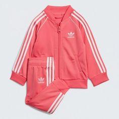 Sst trainingsanzug real pink / weiß e. Dj Sport, Adidas Originals, Kids Fashion Boy, Cute Baby Clothes, Outfit Sets, Superstar, Pink White, Adidas Jacket, Unitards