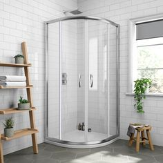 Pacific Offset Quadrant Shower Enclosure with Shower Tray & Waste - Left Hand Option at Victorian Plumbing UK Corner Shower Enclosures, Quadrant Shower Enclosures, Sliding Glass Door, Sliding Doors, Pivot Doors, Shower Units, Black Curtains, Chrome Handles, Shower Doors