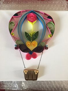 Paper quilled hot air balloon by Louscrafts16 on Etsy