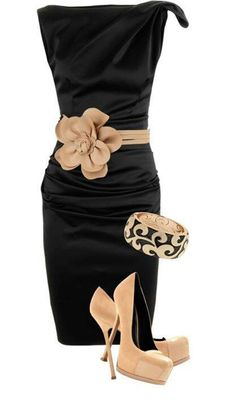 Black dress with taupe flower belt and taupe heels. Perfect for NYE. LOLO Moda: Gorgeous dresses for women - Fashion 2013 Estilo Fashion, Look Fashion, Ideias Fashion, Womens Fashion, Fashion Trends, Dress Fashion, Fashion Clothes, Fashion Ideas, Fashion Blogs