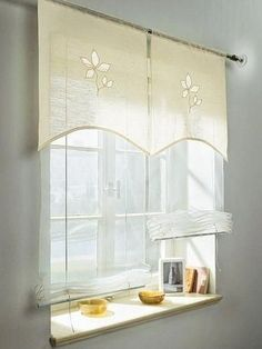 Kitchen Window Valances, Kitchen Curtains, Burlap Curtains, Curtains With Blinds, Kitchen Curtain Designs, Horizontal Blinds, Curtain Styles, My Home Design, Glass Bathroom
