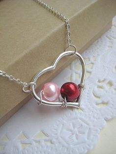 Necklace- Wire Heart Pendant w/ Birthstone Color Pearls from buysomelove on etsy.com