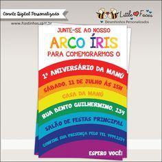 Convite Festa Arco Íris para imprimir                                                                                                                                                     Mais