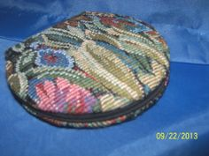 Needlepoint Compact Hand Mirror Double Sided design handy
