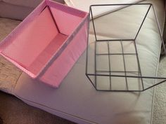 Too cheap to throw my wire basket away.so I made a new liner! Even re-used the velcro. Wire Baskets, Reuse, Repurposed, Recycling, How To Make, Upcycle, Upcycling