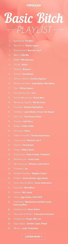The ultimate basic b*tch playlist. The ultimate basic b*tch playlist. Music Mood, Mood Songs, Music Lyrics, Music Songs, Workout Songs, Song List, Song Playlist, Playlists, Music Is Life
