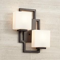 """Lighting on the Square Bronze 15 1/2"""" High Wall Sconce - #47342   LampsPlus.com- would like a single light version of this for DR"""