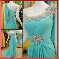 Discount High Quality Blue Crystal Prom Evening Dresses with Backless 2015 A-Line Sexy One-Shoulder Beaded Ruffle Formal Party Gowns Cheap Online with $117.81/Piece | DHgate