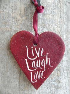 Live/Laugh/Love Salt-Dough Heart Ornament by cookiedoughcreations