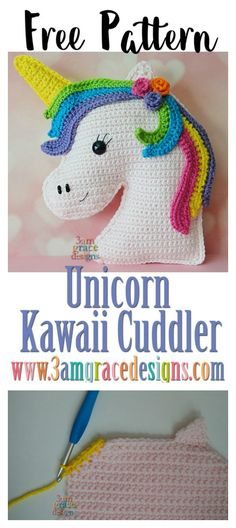 Unicorn Kawaii Cuddler Free Crochet Pattern #Crochet #Freepattern #Unicorn