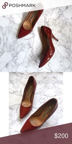 Acne Red Patent Lola Heels Red patent heels with a thin stiletto heel and a pointed toe. Size 37 from Acne Studios. These were a display pair and some minor wear to the soles as well as one tiny scuff on the side of the shoe, which is pictured. Acne Shoes Heels