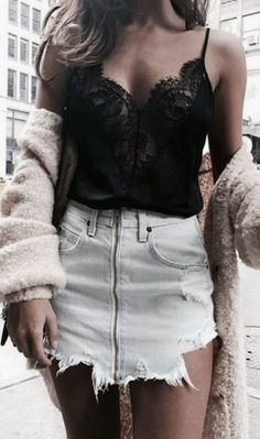 lace tank + zip denim skirt + teddy jacket | #ootd #outfitideas | teen casual outfit ideas for the city