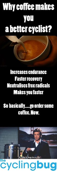 Why COFFEE makes you a better cyclist ... http://thecyclingbug.co.uk/health-and-fitness/food-and-nutrition/b/weblog/archive/2015/04/15/why-coffee-makes-you-a-better-cyclist.aspx?utm_source=Pinterest&utm_medium=Pinterest%20Post&utm_campaign=ad #thecyclingbug #cycling #bike #coffee