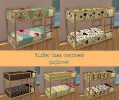 Leo Sims - Todler Ikea Inspired bed for The Sims 4 Sims 3, Sims 4 Tsr, Sims Four, Ikea Toddler Bed, Toddler Bunk Beds, Ikea Bedroom Sets, Kura Ikea, The Sims 4 Bebes, Sims 4 Beds