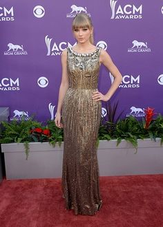 Taylor Swift In An Embellished Gold Dolce And Gabbana Dress At The ACM Awards