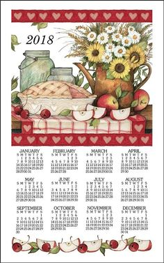 ENJOY THE LITTLE THINGS 2021 CALENDAR TOWEL with Dowels /& Cord Floral Wreath