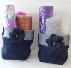 Do you have old denim jeans you'd like to get rid of? Why not upcycle and turn the legs into cute storage baskets!  So easy to do and you just need to hand sew…