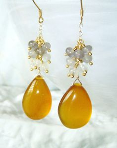 Amber chalcedony and moonstone cluster earrings by oneoffcreations, $26.00