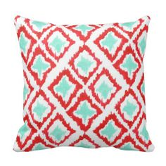 patterned pillows red turquoise gray - Google Search