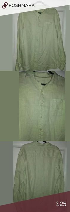 Mens Tommy Bahama Linen Green Shirt Tommy Bahama Mens Long Sleeve Button Front Shirt Size XL 100% Linen Light Lime Green Color 28 inches across chest from pit to pit 32 inches from shoulder down to end Tommy Bahama Shirts Casual Button Down Shirts