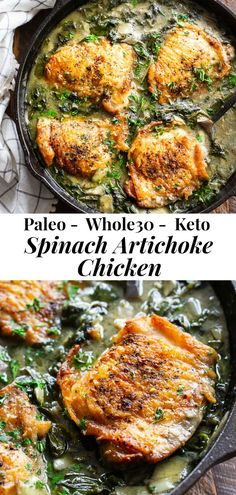 This one-skillet spinach artichoke chicken is packed with flavor! Crispy chicken cooked with creamy spinach artichoke sauce that's Paleo, and keto! Spinach Artichoke Chicken, Artichoke Recipes, Spinach Stuffed Chicken, Easy Healthy Dinners, Easy Healthy Recipes, Paleo Recipes, Cooking Recipes, Recipes Dinner, Healthy Foods
