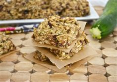 Oatmeal Zucchini Bars. Minus the honey and chocolate chips and these would be a great healthy food for my baby girl.