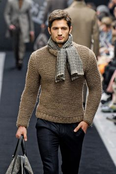 Men's Tan Crew-neck Sweater, Black Dress Pants, Grey Canvas Tote Bag, Grey…